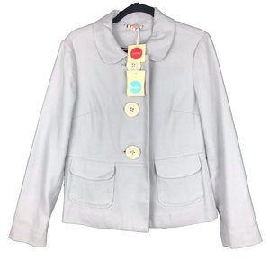 Boden Light Blue Gray Cotton Big Button Jacket 10
